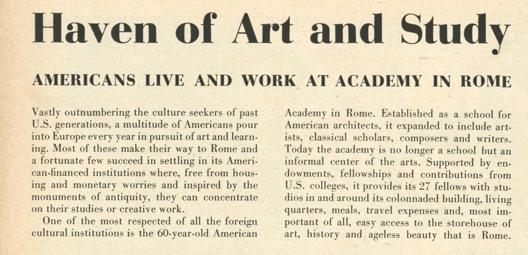 Dec 1957 LIFE magazine article on the American Academy in Rome