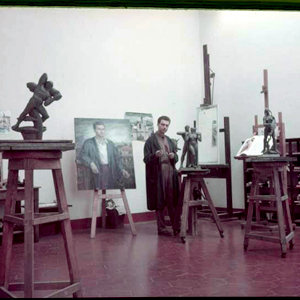 Wein in his studio with Phryne Before the Judges and Large Prometheus in the foreground.