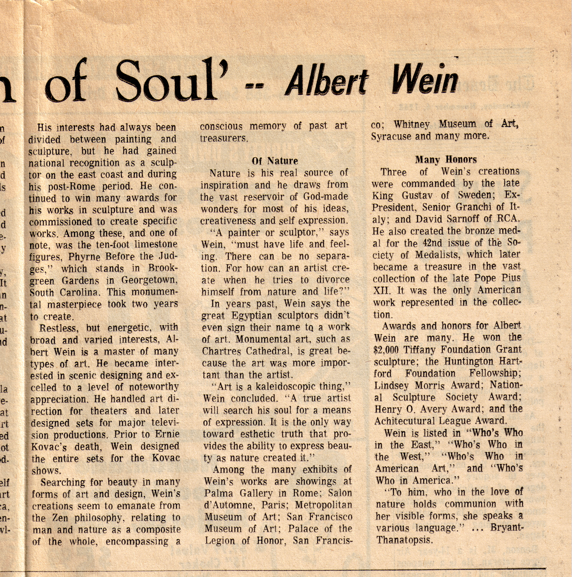 Albert Wein- Desert Sun Article